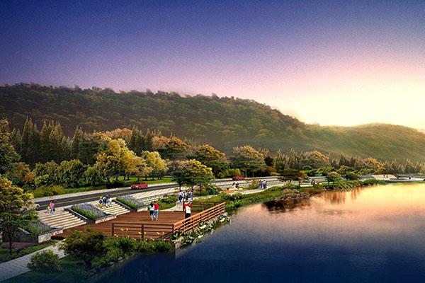 洪坑河二期工程景观平台效果图